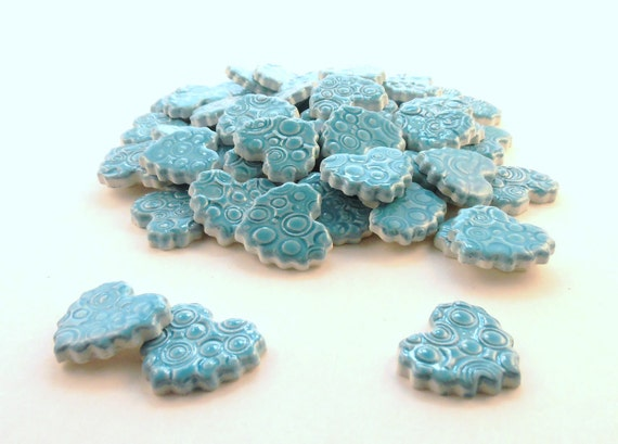 Mosaic Tiles-Heart tiles ceramic mosaic tiles - Turquoise Blue hearts