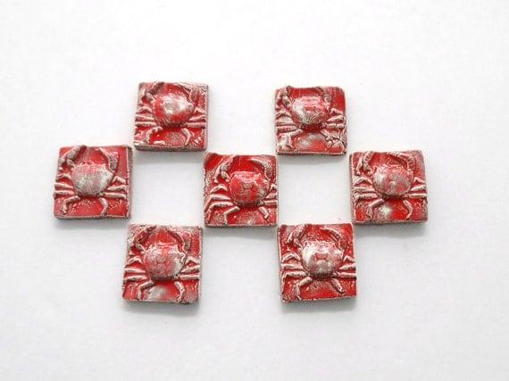 7 Matador Red Crab tiles/ Red ceramic mosaic tiles and Coins ect....  (TILES to MOSAIC)