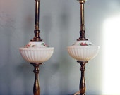 S A L E, Pair of Milk Glass Brass-Stemmed Lamps - was 38, now 24