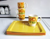 Sunflower Snack Trays and Mug Set of Four, Made in Japan
