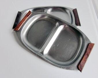 Mid Century Metal Snack Trays / Set of 2