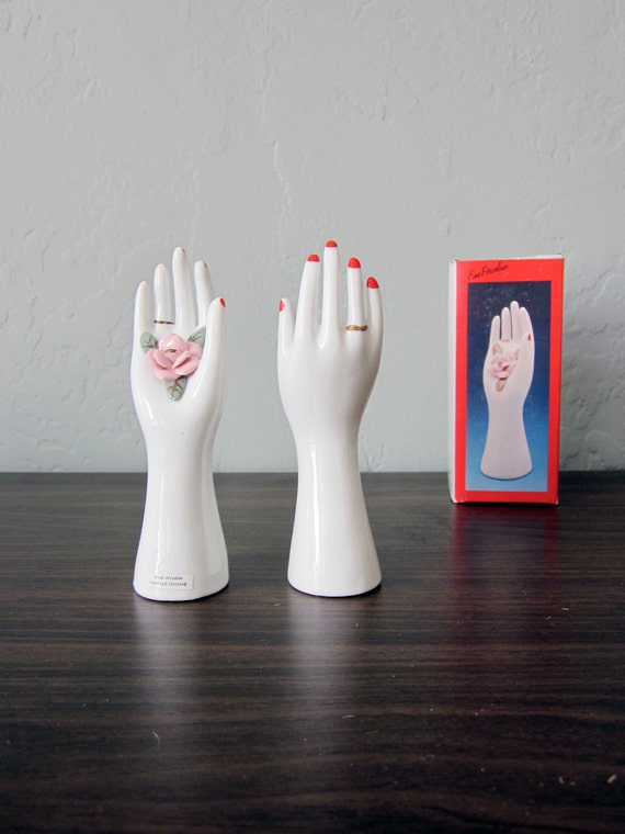 Pair of Porcelain Ring-holder Hands