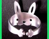 Rabbit Ring Bunny Ring Adjustable ring Sterling Silver Ring Rabbit Jewelry Animal ring Bunny jewelry Rabbit art ring silver bunny R-012