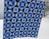 ON SALE! Lap Quilt in Shades of Blue and Frosty Whites