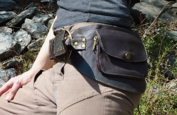 Reserved for Amyrwood Hip Pocket Belt Bag with rings brown with shades of dark red