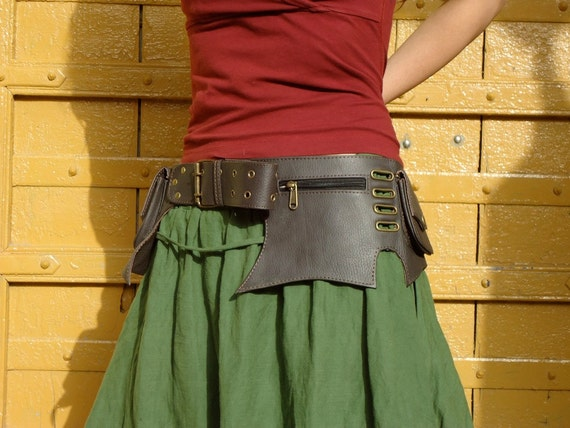 Leather Utility Belt Bag Steampunk Hip Bag with Pockets in Dark Brown