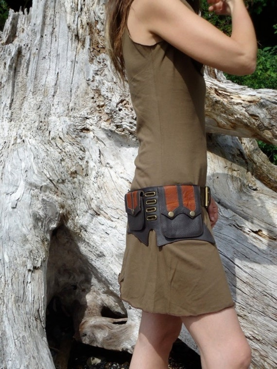 Steampunk Leather Belt bag hip with pockets in  brown