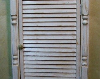 Distressed Louver Wall Cabinet  - Country Furniture, Primitive Americana, Cottage