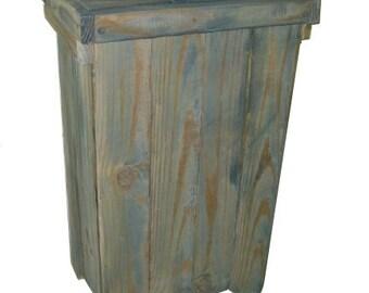 Weathered Primitive Distressed Trash Bin (ATC993)
