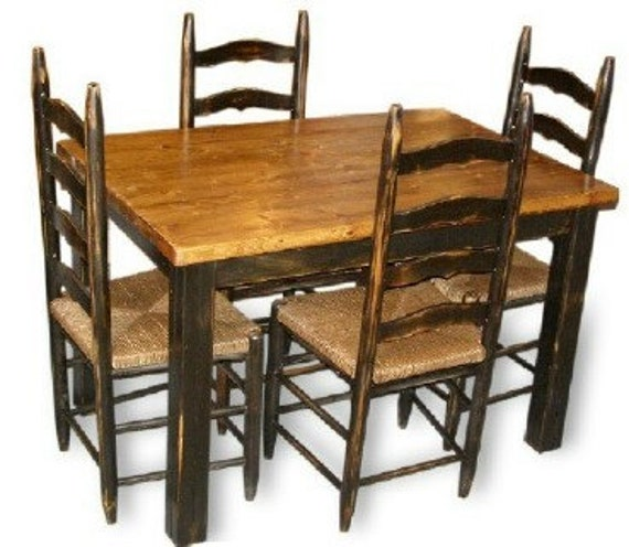Farmhouse Dining Table And Chairs: Items Similar To Primitive Americana Farmhouse Table / 4 Ladderback Chairs Kitchen/Dining Table
