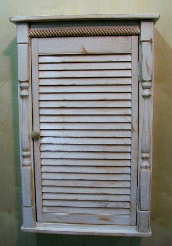Distressed Louver Wall Cabinet Country Furniture Primitive