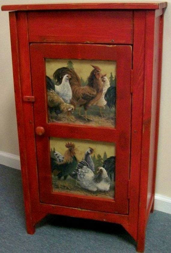 Rooster Primitive Cupboard Storage Americana Country