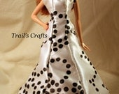 Handmade Barbie Clothes Doll Dress Style 30 White With Black Dots Satin