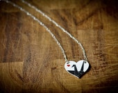 Black Crane Heart Necklace