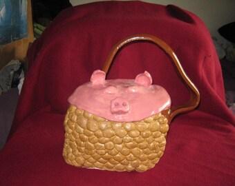 Ceramic Pig Purse NonFunctional