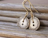 Button collection - Bronze circles -- vintage buttons dangling earrings