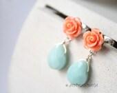 Retro  inspired orange blue drops earrings posts