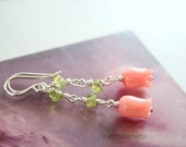 Spring tulips  -- earrings in peridot green, pink and 925 sterling silver