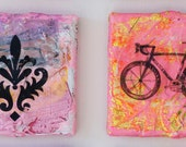 SALE painting pink bicycle ornament pattern pink original mixed media textured black