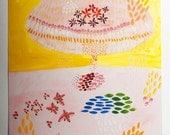 flowers print giclee art nature pink cloud garden yellow ornament scandinavian Nordic