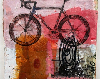 painting Tour de France bicycle original gallery fine art pink black brown