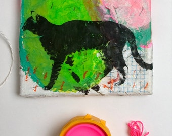 cat painting green drawing black fine art canvas acrylic pink