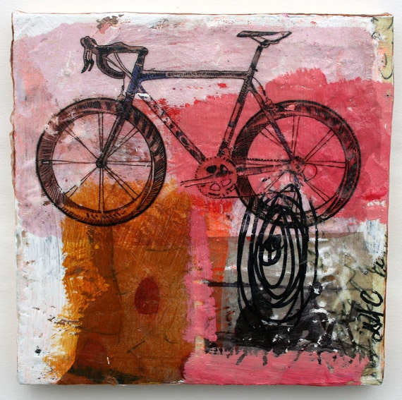 Painting bicycle pink black painting original painting wall for Bicycle painting near me