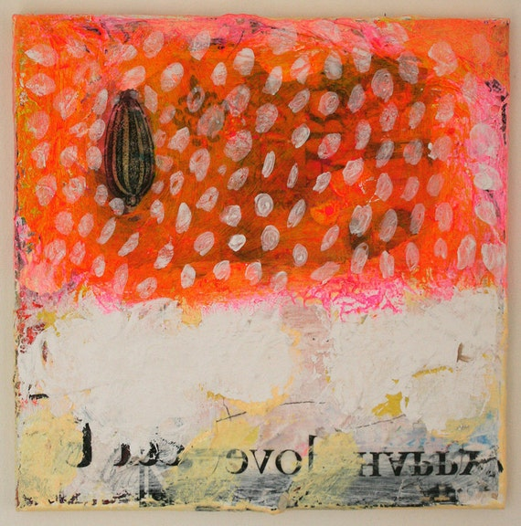 art painting original pink abstract orange snowing mixed media white