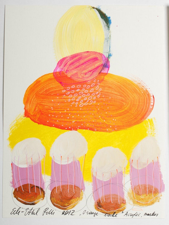 painting orange lake yellow original on paper acrylic pink fine art mixed media