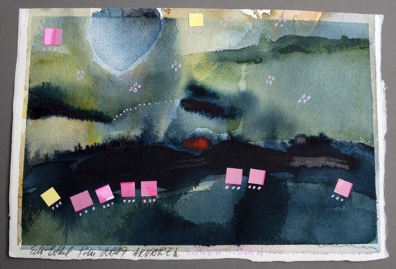 collage paper pink blue original abstract composition contemporary fine art night lake
