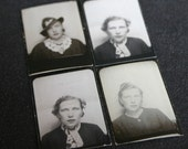 The girl from the photo booth. Collection of 4 portraits vintage black and white pictures.
