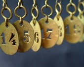 Vintage numbered golden tag. You pick your number. PRICE FOR 1 ONLY.