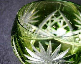 Clear as crystal... Vintage elegant emerald green cup for your Christmas decor.