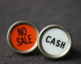 Cash. No sale. Pair of rings. Rescued vintage register keys.