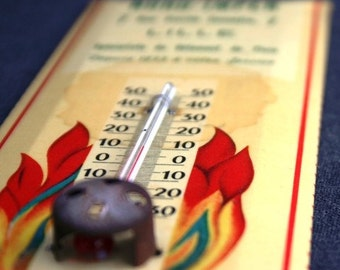 It's hot in here. Fab vintage advertising French thermometer.