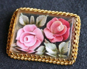 Two roses vintage brooch. Mothers day gift idea.