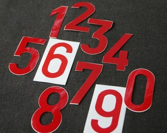 Days till Christmas. Vintage bright red die cut numbers stickers. Make your combination.
