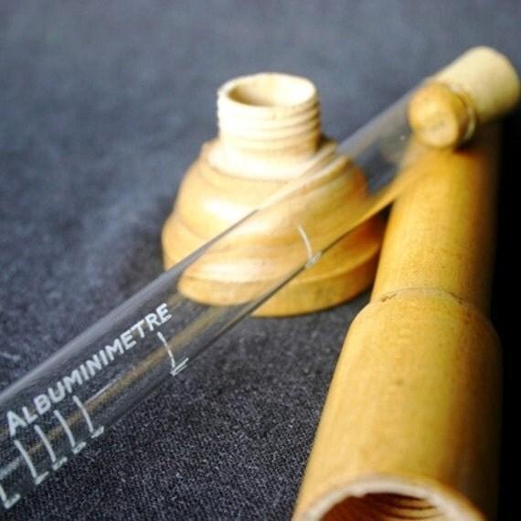 Albuminimetre. Vintage scientific vial.