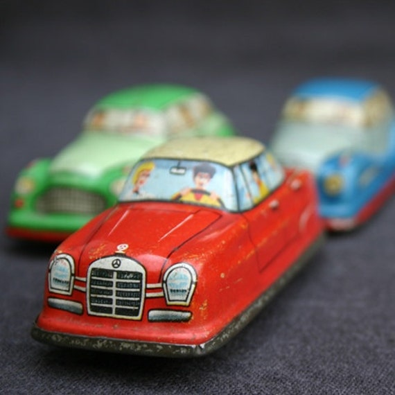 Traffic jam. Collectibles vintage tin cars.