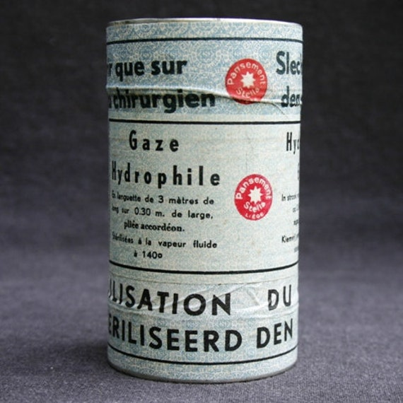 Opened only by order of surgeon. Vintage unused gauze box.