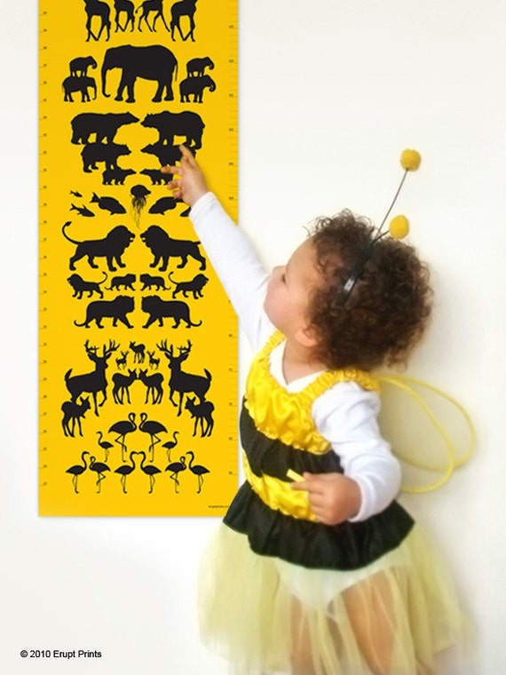 Animal Growth Chart for a stylish nursery. Animal height chart by Erupt Prints. Growth chart for kids rooms. Height chart for girls and boys