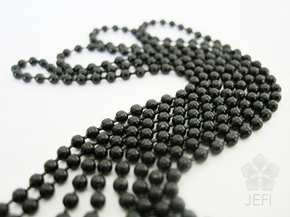 16Ft one strand wholesale balck bead chain with free connectors 2.4mm