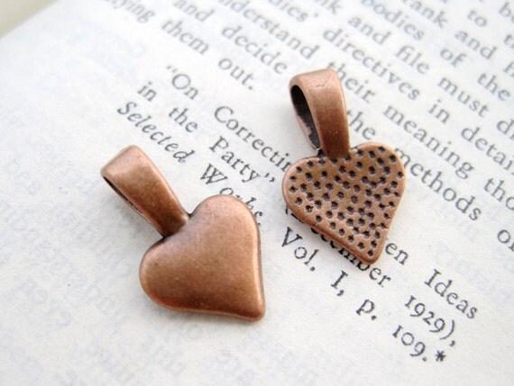 20PCS 16x10mm Antique Copper Heart Shaped Glue-On Pendant Bails
