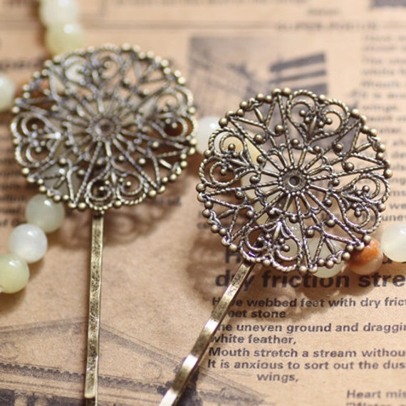 20PCS Vintage Brass Antique Bronzed Hairpin with 31mm Filigree Cameo/ Cabochon Base Settings