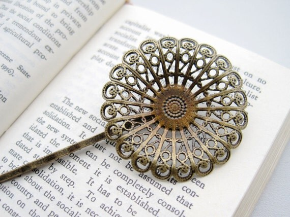 10PCS Brass Antique-Finish Hairpin with 36mm Vintage Round Filigree Components