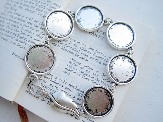 10PCS Antique Silver Tone Blank Bracelet with 18mm Round Bezel Cup Cabochon/ Cameo Mountings