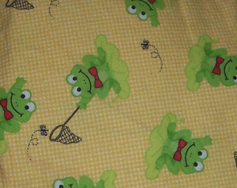 Frogs Catching Flies Flannel Fabric 7/8 Yard Pre-Washed