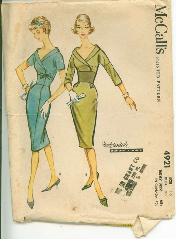 1959 McCalls 4921 Mademoiselle Editor's Choice Sheath Pattern COMPLETE Bust 36