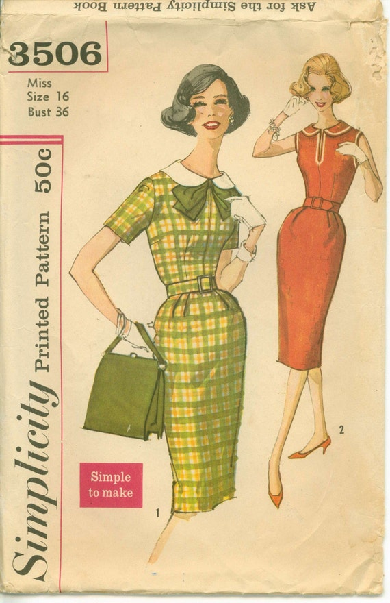 1960s Sheath with Detachable Collar and Bow  Simplicity 3506 COMPLETE Bust 36