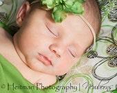 Green Flower Headband.  Newborn size only.